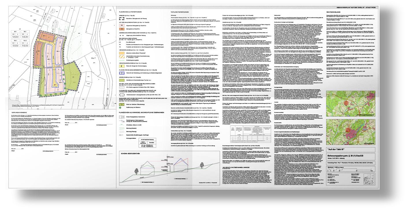 Im Bebauungsplan (B-Plan) legt die Gemeinde als Satzung fest, welche bauliche Nutzung auf einer Fläche zulässig ist. In der Regel besteht der Bebauungsplan aus einer Planzeichnung (Teil A) und einem Textteil (Teil B). Für die Hausplanung sind darüber hinaus die textlichen Festsetzungen und eine eventuelle Gestaltungssatzung wichtig.